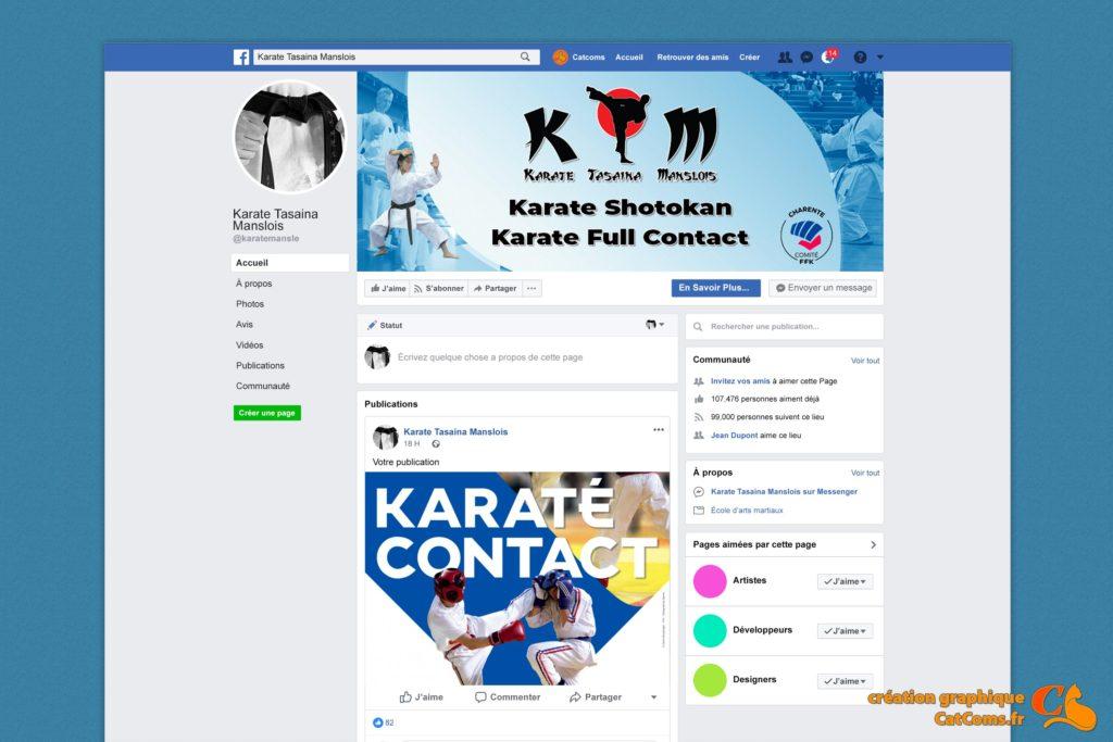 """Page Facebook du club de karaté """"KTM"""""""