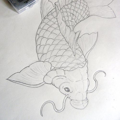 dessin à la main d'une carpe koi
