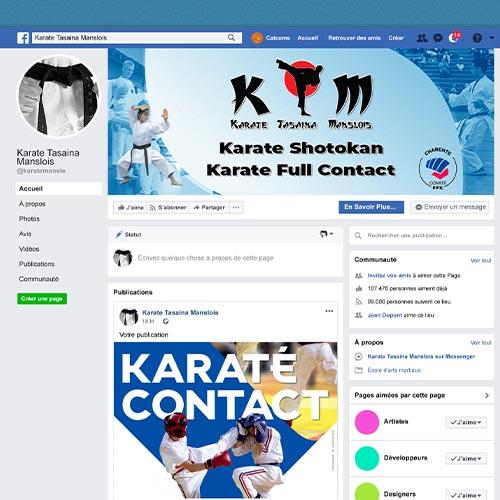 page Facebook d'un ckub de karaté
