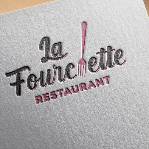 papier entête texturé logo la fourchette restaurant
